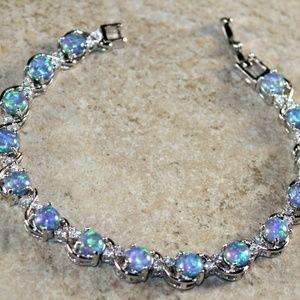 Blue Fire Opal Round Silver Bracelet